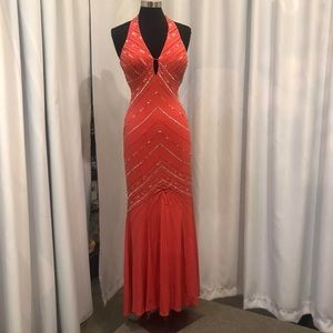 Deep V coral evening gown